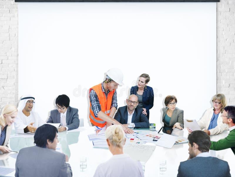De Presentatiearchitect Design van de bedrijfsmensen Collectieve Vergadering stock afbeeldingen
