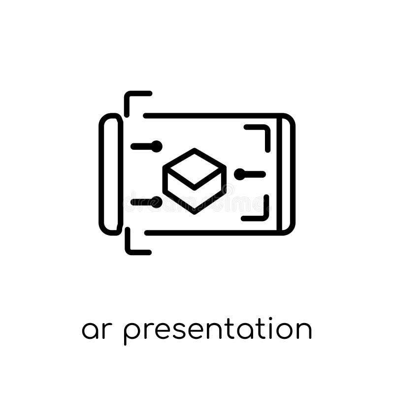 de presentatiepictogram van AR In modern vlak lineair vectorar presen vector illustratie