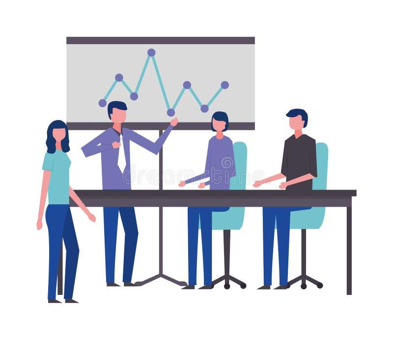 De presentatierapport van de bedrijfsmannen en vrouwenbureauvergadering stock illustratie