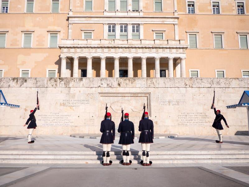 De presidents- vakterna i Aten royaltyfria bilder