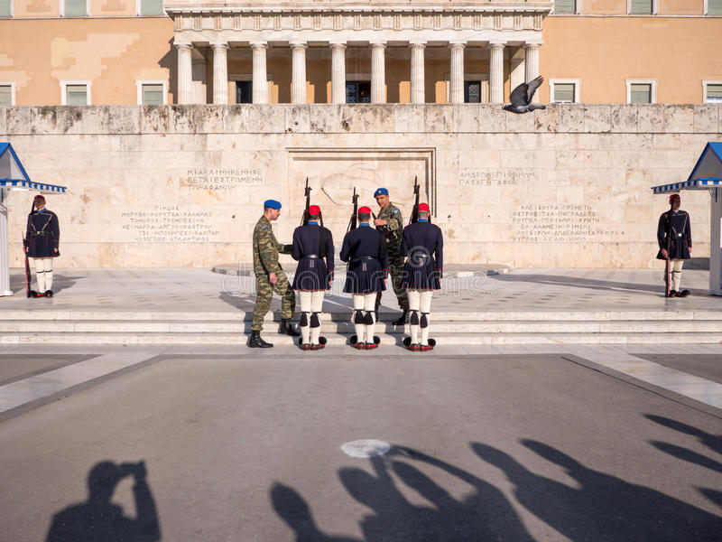 De presidents- vakterna i Aten royaltyfri fotografi