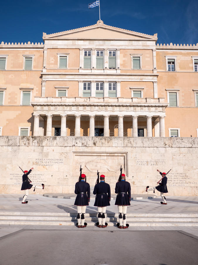 De presidents- vakterna i Aten fotografering för bildbyråer