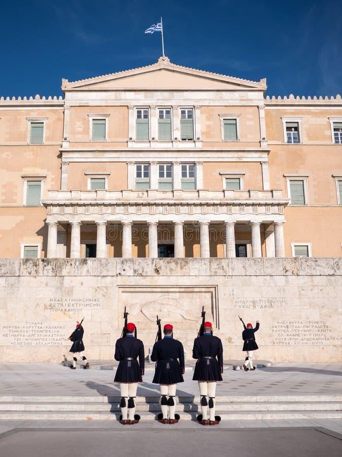 De presidents- vakterna i Aten arkivfoto