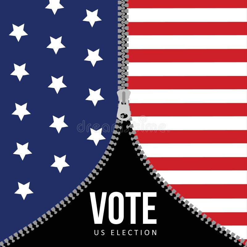De presidentsverkiezingconcept van de V.S., de vlagachtergrond van de V.S. met ritssluiting Amerikaanse illustratie, vlak ontwerp vector illustratie