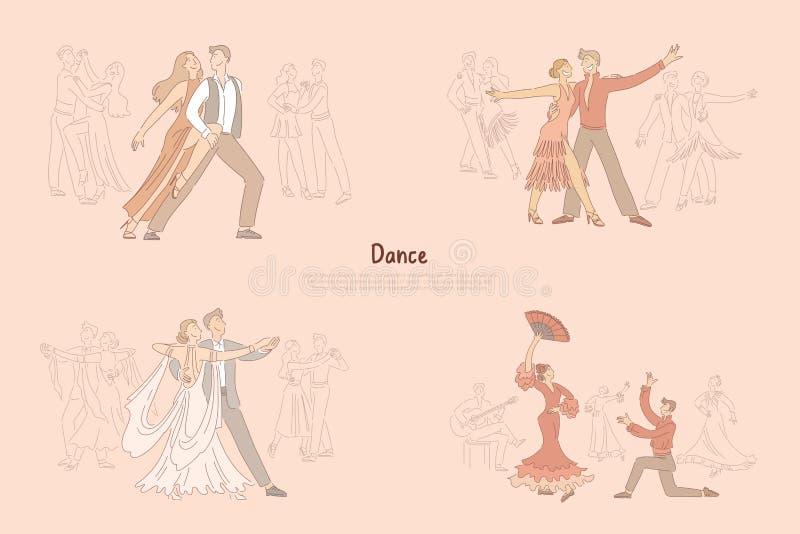 De prestaties van balzaaldansers, bevallige paren het dansen tango, rumba, foxtrot, hartstochtelijke flamencobanner stock illustratie