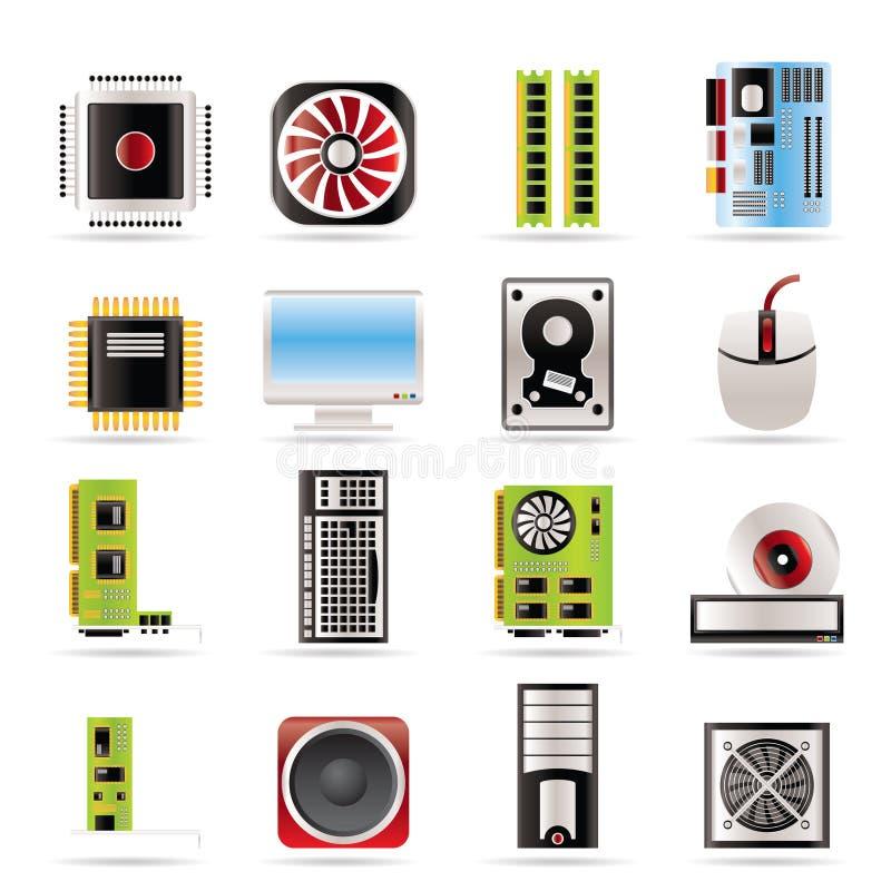 De prestaties van de computer en apparatuur pictogrammen royalty-vrije illustratie