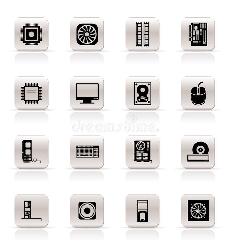 De prestaties van de computer en apparatuur pictogrammen vector illustratie