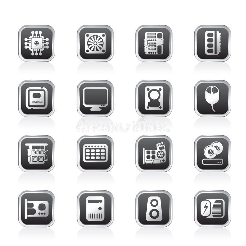 De prestaties van de computer en apparatuur pictogrammen stock illustratie