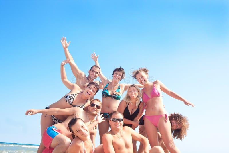 De pret van de zomer op het strand stock afbeelding