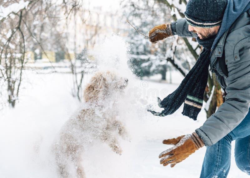 De pret van de sneeuwbalstrijd met huisdier en zijn eigenaar in de sneeuw de winter ho stock afbeelding