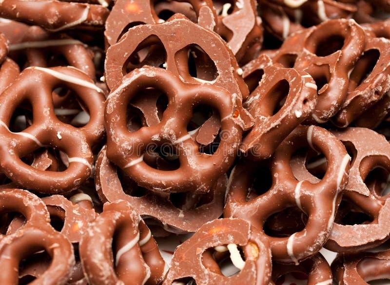 De pretzels van de chocolade stock foto's