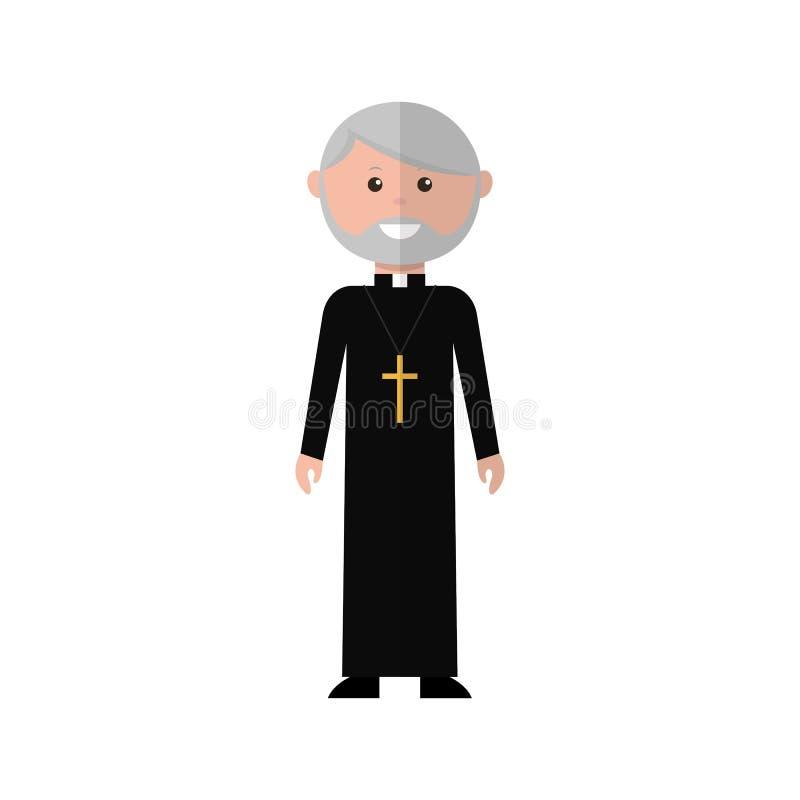 De priester is een beeldverhaalkarakter royalty-vrije illustratie
