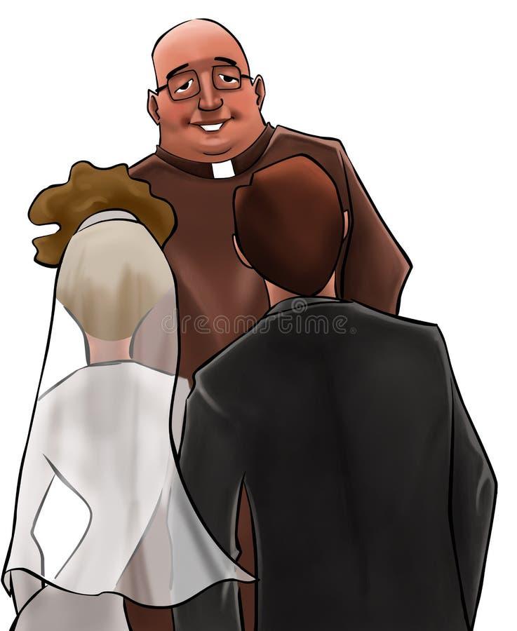 De priester in een huwelijksceremonie vector illustratie