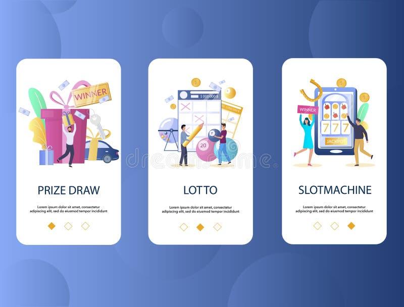 De prijs trekt, Lotto, de onboarding schermen van de Gokautomaatmobiele toepassing Het vectormalplaatje van de menubanner voor we stock illustratie