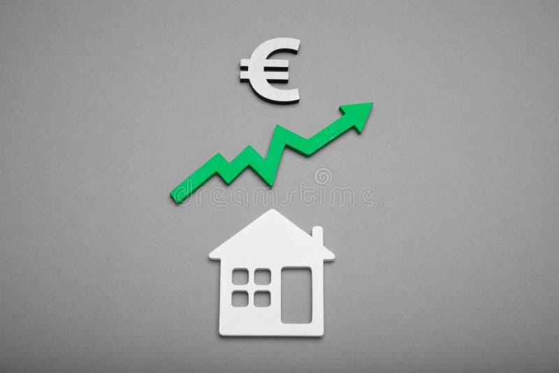 De prijs van de huiswaarde, de activa van het stijgingskrediet De verhoging van het hypotheekbezit stock fotografie