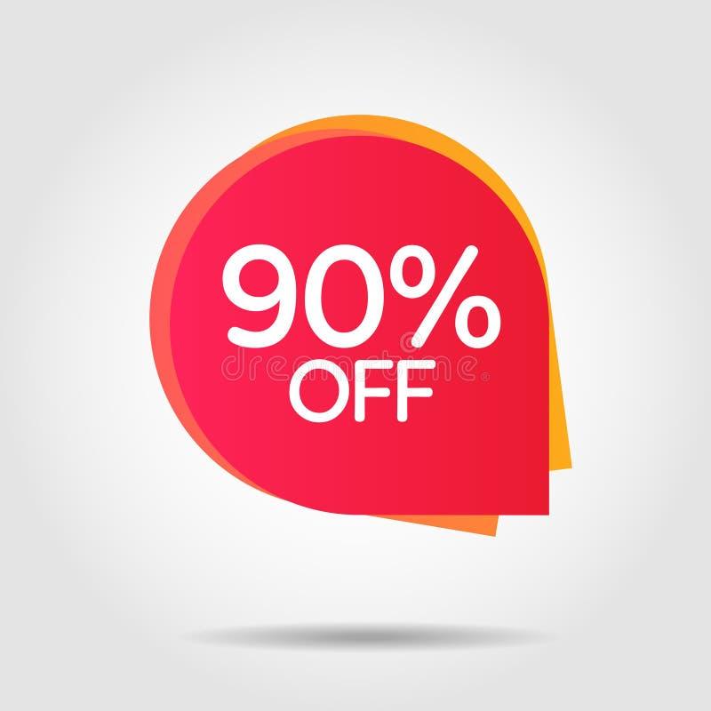 De prijsetiket van de kortingsaanbieding, symbool voor reclamecampagne in kleinhandels, verkooppromo marketing, 90% stock illustratie