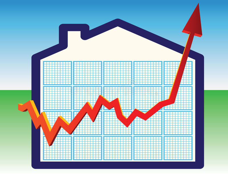 De prijzen van het huis op omhooggaand stock illustratie