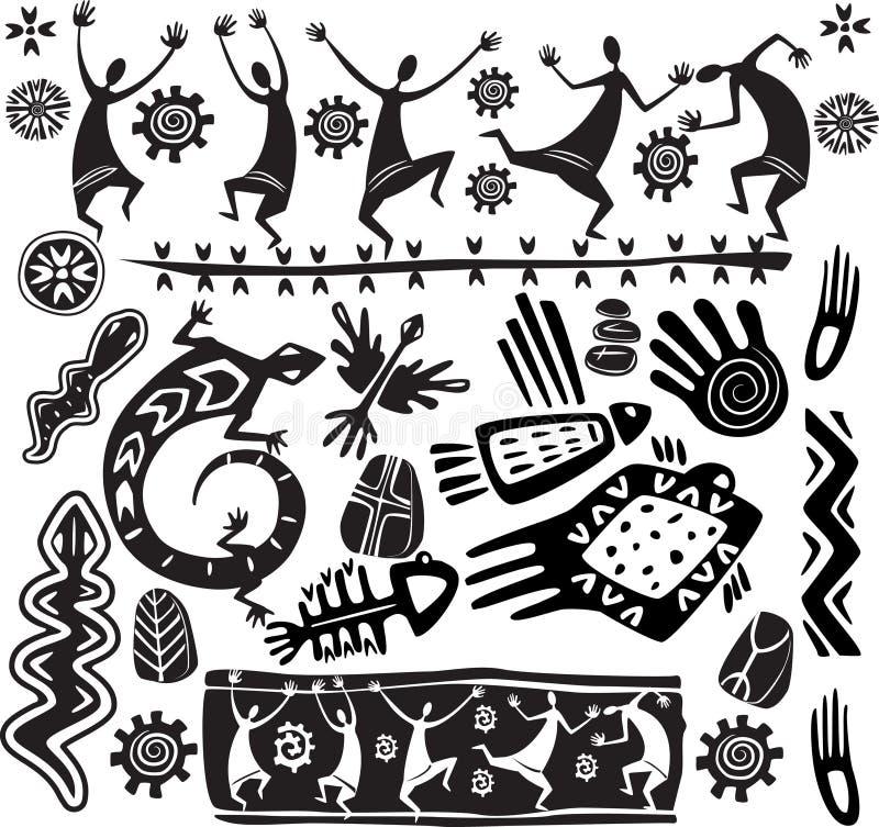De primitieve elementen van het kunstontwerp royalty-vrije illustratie