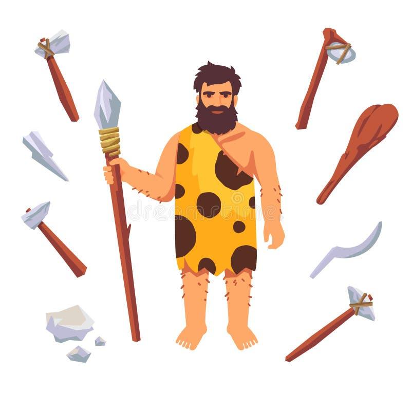 De primitieve mens van de steenleeftijd royalty-vrije illustratie