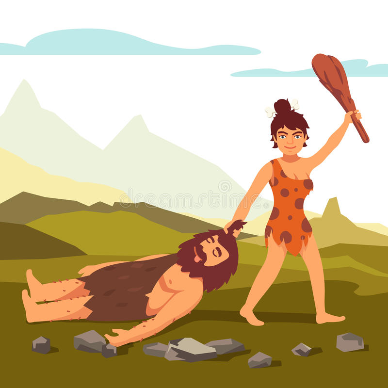 De primitieve vrouw die van de steenleeftijd de gebaarde mens trekken stock illustratie