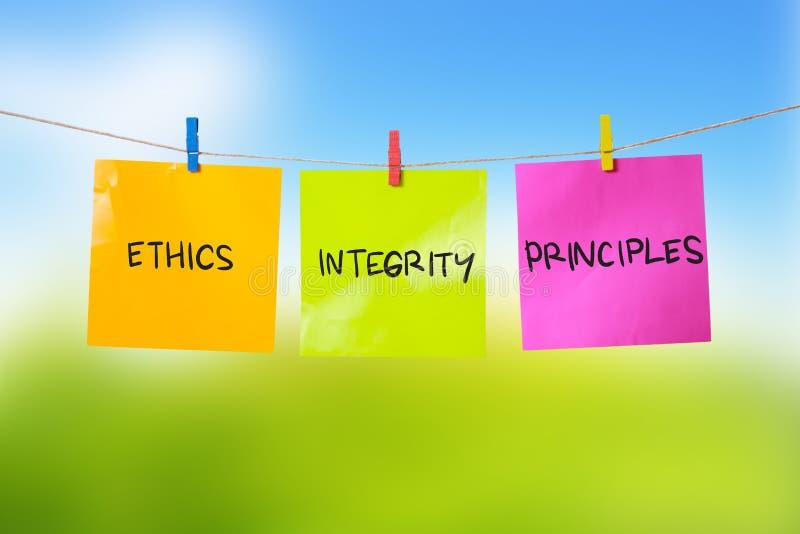 De Principes van de ethiekintegriteit, het Concept van Bedrijfswoordencitaten royalty-vrije stock foto
