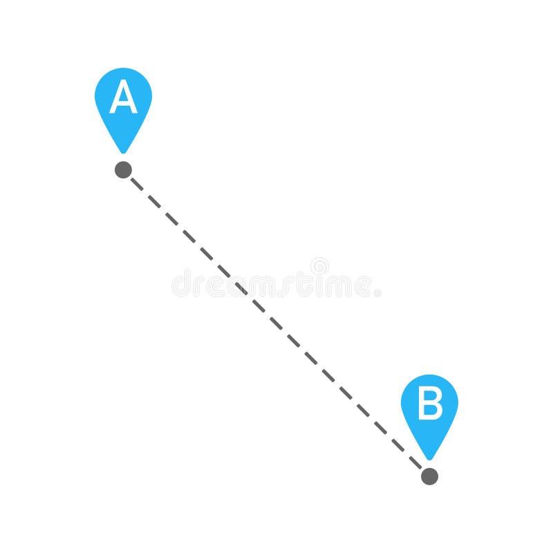De principio a fin ruta del perno del mapa stock de ilustración