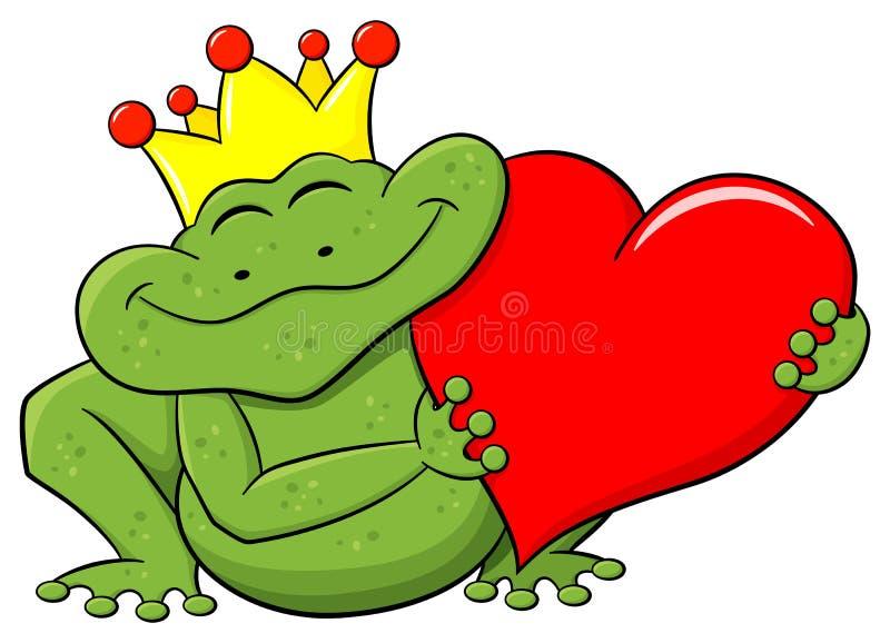 De prins die van de kikker een rood hart houdt royalty-vrije illustratie