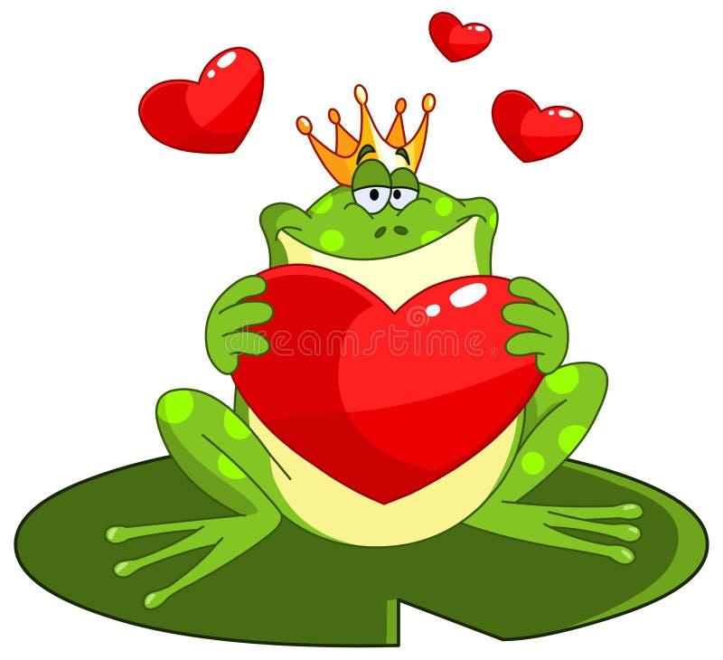 De prins van de kikker met hart royalty-vrije illustratie
