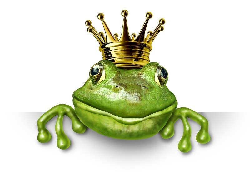 De prins van de kikker met kleine gouden kroon royalty-vrije illustratie