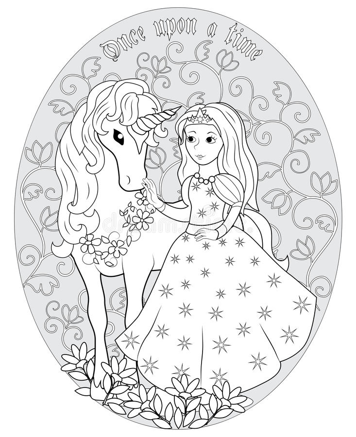 De Prinses en de eenhoorn stock illustratie