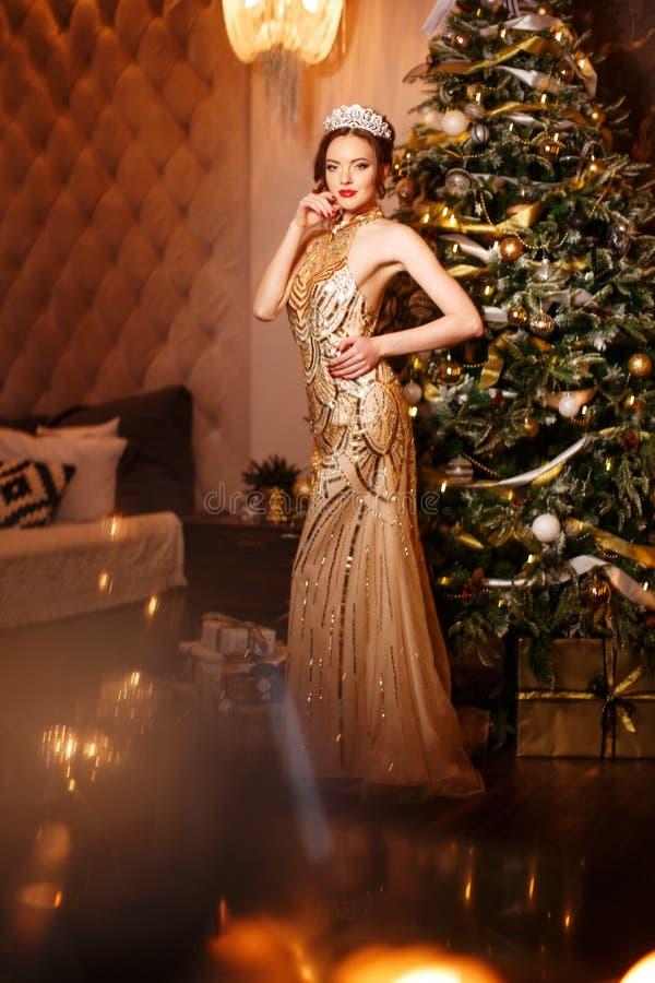 De prinses van de vrouwenkoningin in kroon en de kleding van Lux, lichtenpartij backgr royalty-vrije stock foto