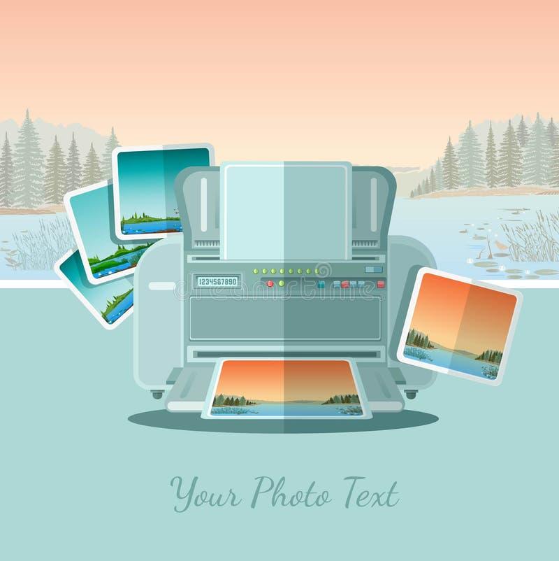 De printer van het Ftatpictogram met foto op landschapsachtergrond vector illustratie