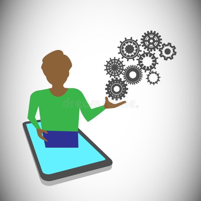 De privé-leraar die de technologie voorstellen door mobiel, dit kan voor online opleiding, het leren & presentatie worden gebruik stock illustratie