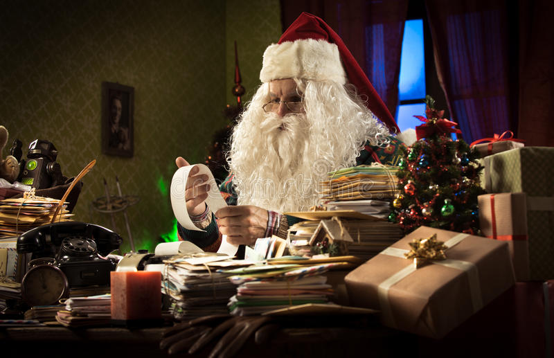 De problemen van Santa Claus en van de belasting stock afbeelding