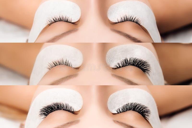 De Procedure van de wimperuitbreiding Het oog van de vrouw met lange wimpers Sluit omhoog, selectieve nadruk royalty-vrije stock foto