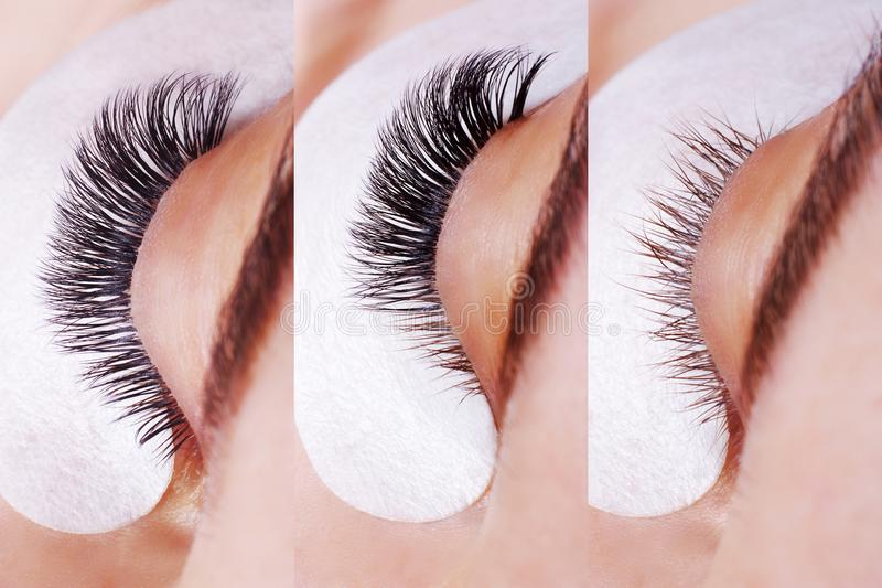 De Procedure van de wimperuitbreiding Vergelijking van vrouwelijke ogen vóór en na stock foto's
