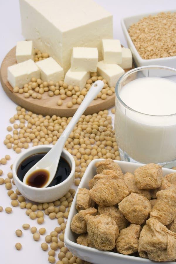 De producten van de soja stock afbeeldingen