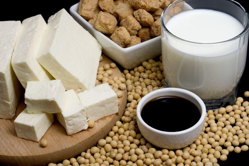 De producten van de soja royalty-vrije stock afbeeldingen