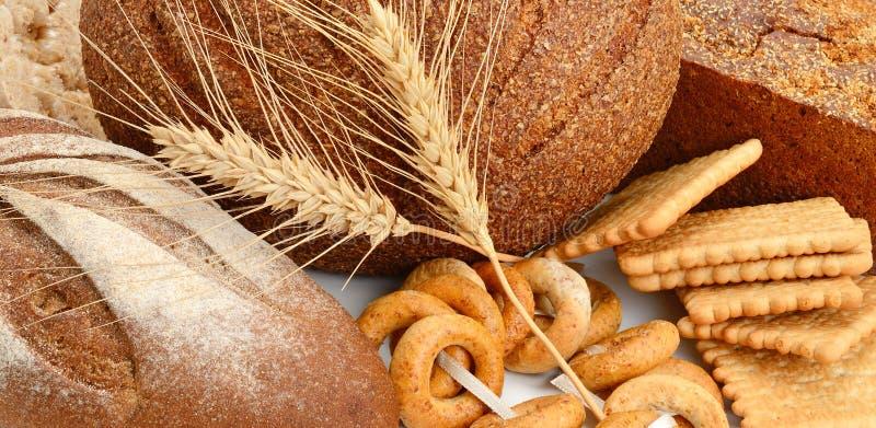 De producten van het brood en van de bakkerij stock afbeelding