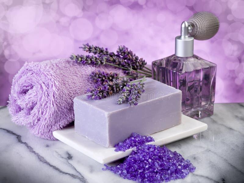 De producten van het de lavendelbad van het kuuroord stock foto