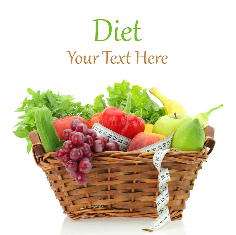 De producten van het dieet in de mand stock foto