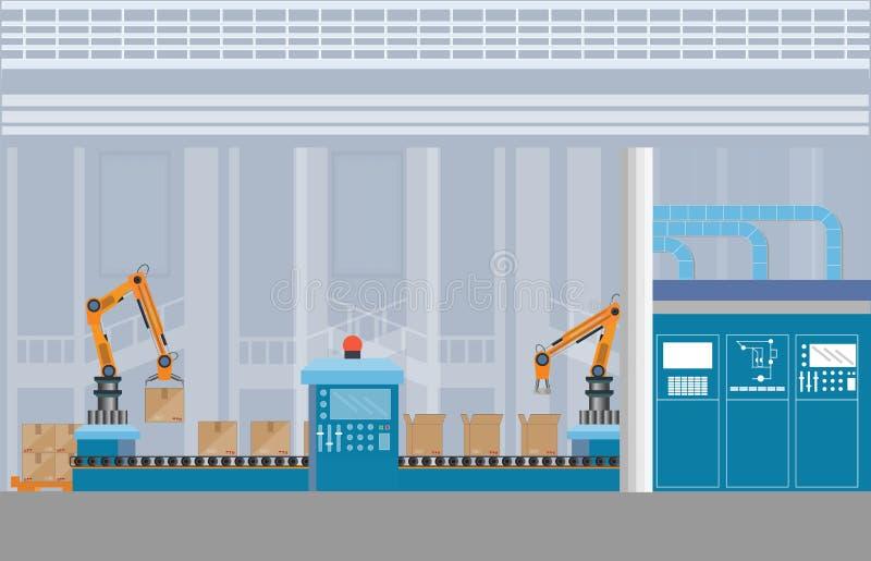 De productie van Pakhuistransportband met arbeiders 4 royalty-vrije illustratie