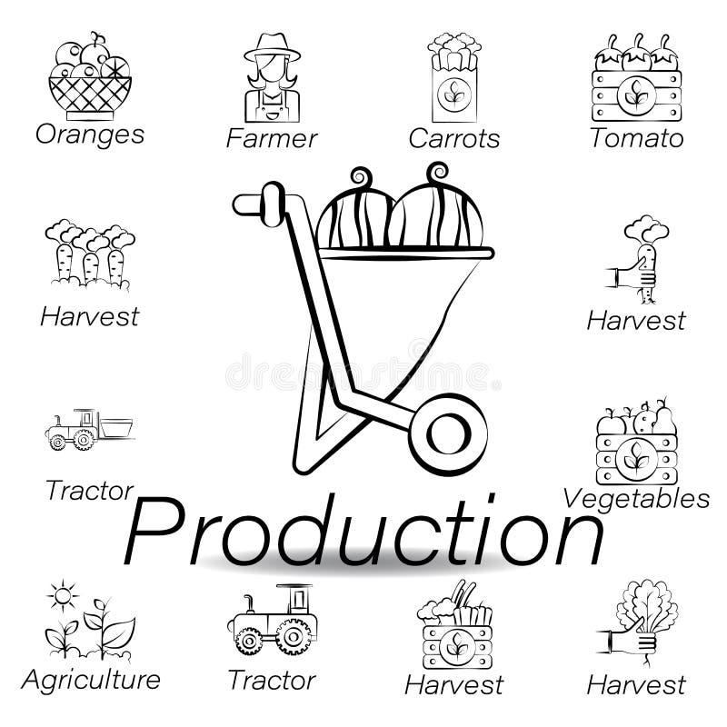 De productiehand trekt pictogram Element van de landbouw van illustratiepictogrammen De tekens en de symbolen kunnen voor Web, em royalty-vrije illustratie