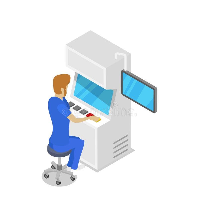 De productielijn isometrisch 3D pictogram van de exploitantconsole vector illustratie