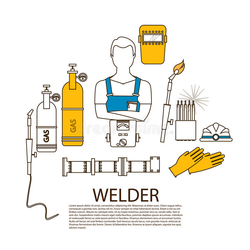 De professioneel hulpmiddelen van het lasserslassen en materiaalsilhouet vector illustratie