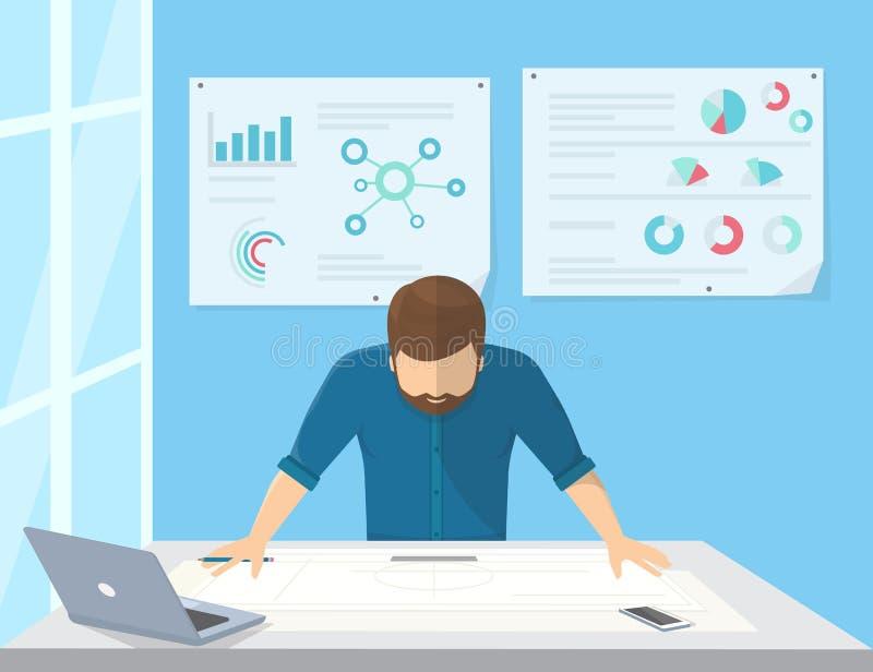 De professionele architect of de projectleider plannen het werk vector illustratie