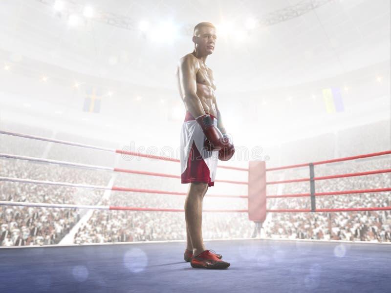 De professionele bokser leidt op de grote arena op royalty-vrije stock fotografie