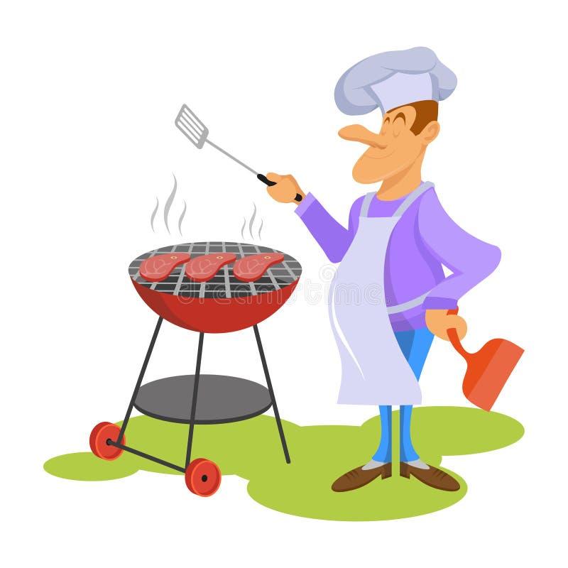 De professionele chef-kok maakt Rundvleeslapje vlees Chef-kok in een kokende hoed Kok op het werk Hef kokende gastronomische maal stock illustratie