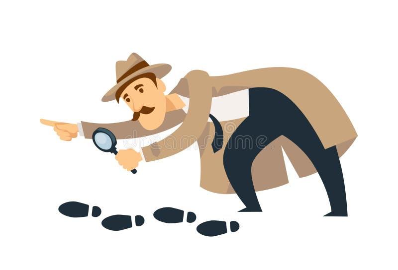 De professionele detective met snorren en meer magnifier volgt voetafdrukken royalty-vrije illustratie