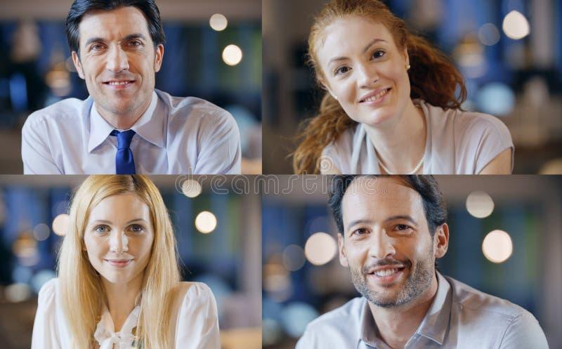 De professionele gelukkige zekere zaken gemengde reeks van de menseninzameling Volwassenen, jonge, elegante vrouw, man op kantoor stock foto